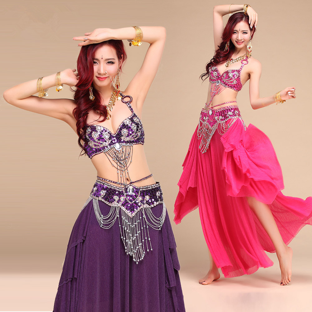 New Style Belly Dance Costume S/M/L 3pcs Bra&Belt&Skirt Sexy Dancing Women Dance Clothes Set Bellydance Indian Wear VL-N55