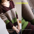 The new European and American women's pure wool sweater and long striped sweater dress autumn and winter