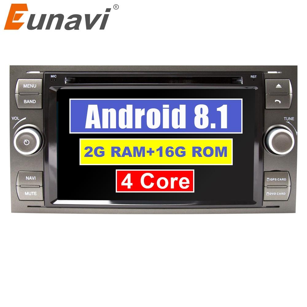 Eunavi Android 8.1 Quad core RAM 2G Car DVD GPS Radio stereo Para Ford Mondeo-S max Foco forma C-MAX Galaxy Fiesta Fusão PC