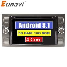 Eunavi Android 8,1 четырехъядерный ОЗУ 2 г автомобильный DVD GPS Радио стерео для Ford Mondeo S-max Focus C-MAX Galaxy Fiesta форма Fusion PC