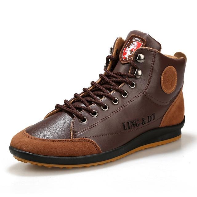 2017 Новых Мужчин Сапоги Кожаные Ботинки Мужчины Британский Стиль мода Высокого Верха Обуви Удобные Плоские С Осени Зимние Сапоги # C027