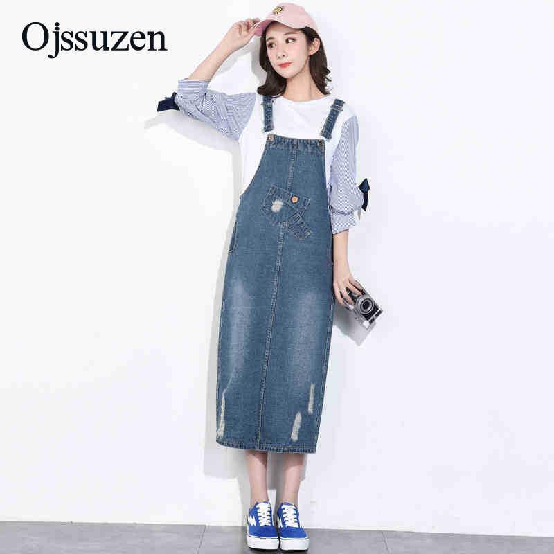 f11661bbc87f7a0 Женское джинсовое платье с подтяжками в английском стиле Большие размеры  сарафан джинсовое платье женское потертое летнее