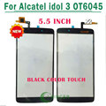 "1/PCS Tested replacement 5.5"" touch screen For Alcatel idol 3 One Touch 6045 OT6045 touch digitizer screen glass black color"