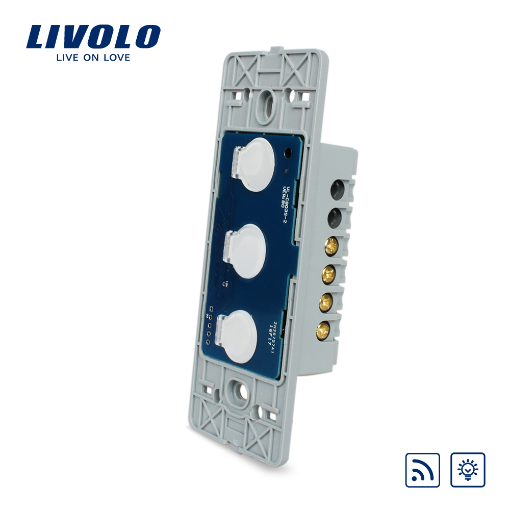 Livolo US standard Wall Light Touch Dimmer &Remote Switch Base board ,3gang 1way ,Without Glass Panel, VL-C503DR smart home uk standard crystal glass panel wireless remote control 1 gang 1 way wall touch switch screen light switch ac 220v
