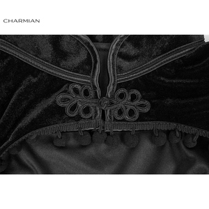 Image 5 - Charmian Womens Medieval Gothic Black Velvet Stand Collar Long Sleeve Midriff Shrug Bolero with Pom poms