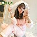 Корейских женщин пижамы осень зима милый мультфильм коралловый флис фланели рукава Главная Обстановка утолщенной зимний костюм
