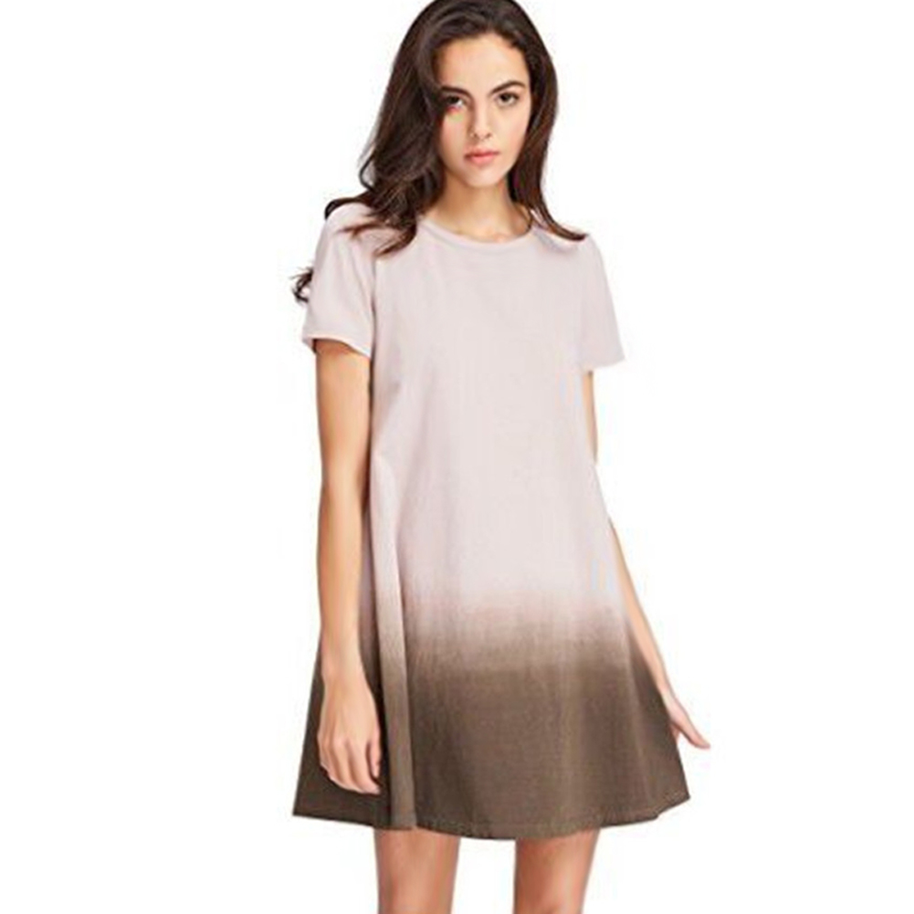 Women T-shirt Dress Gradient Color Round Neck Short Sleeves Loose Dress for Summer -MX8