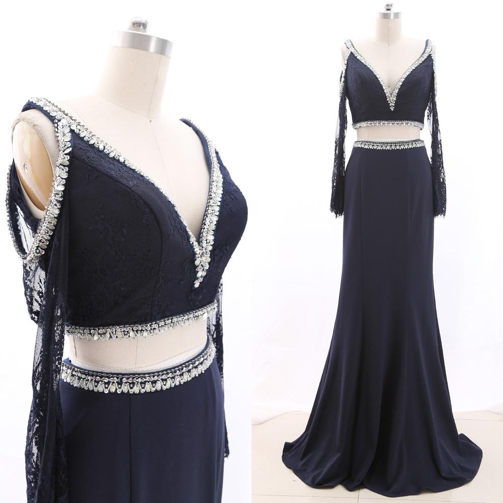 MACloth Dark Navy Mermaid V Neck Floor-Length Long Crystal Satin   Prom     Dresses     Dress   M 265885 Clearance