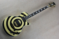 Free shipping guitar factory custom Top quality L Zakk wylde black+yellow electric guitar EMG pickups 14930