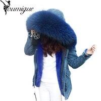 Winter Coat Women Long Fur Jacket 2016 Ladies Faux Fur Lined Denim Jeans Parka Winter Fur