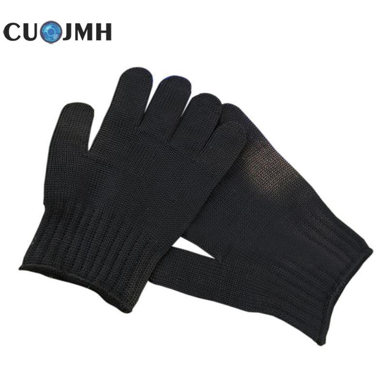 1 Pair White Black Working Gloves Stainless Steel Wire Safety Gloves Cut Metal Mesh Butcher Anti-cutting Breathable Work Gloves 10 pair work gloves black safety protective anti static cut resistant mechanic butcher working gloves stainless steel wire