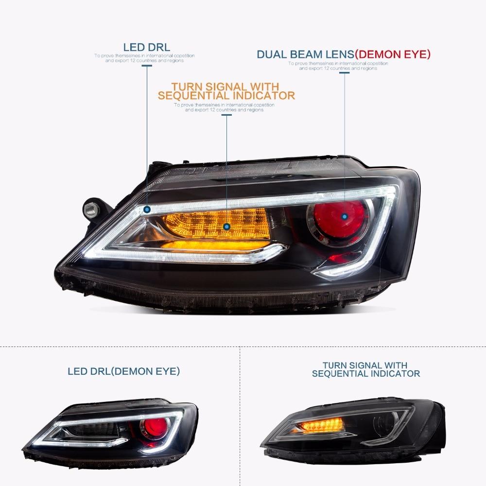 Vland 2PCS Car Light Led Headlight For Jetta Headlight 2011 2012 2013 2014 Demon Eyes Head lamp vland 2pcs car light led headlight for jetta headlight 2011 2012 2013 2014 demon eyes head lamp