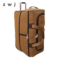 High capacity Rolling Luggage Trolley Suitcase Women Oxford Cloth Trolley Carry On luggage Man Travel Bag