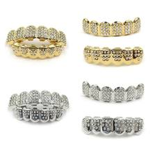 New Fshion Hip Hop Gold Silver Iced Out CZ Teeth Grillz Top Bottom Men Women Jewelry(China)