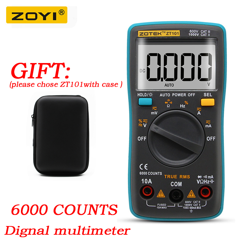 RM101 ZOYI ZT101 Digital Multimeter Backlight AC/DC Ammeter 6000 counts AC/DC Ammeter Voltmeter Ohm Portable Meter voltage meter auto digital multimeter 6000counts backlight ac dc ammeter voltmeter transform ohm frequency capacitance temperature meter xj23