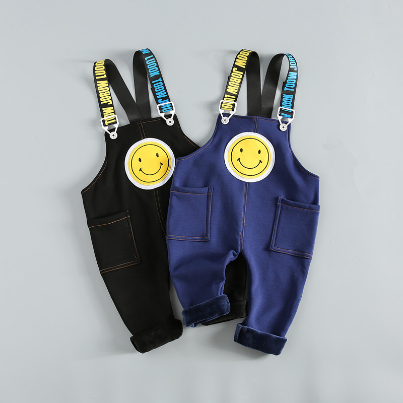 Baby Pants Autumn Winter Baby Boys Girls Overalls Pants Kids Boys Letter Smiley Cotton Pants Toddler Girls Jumpsuit Clothes