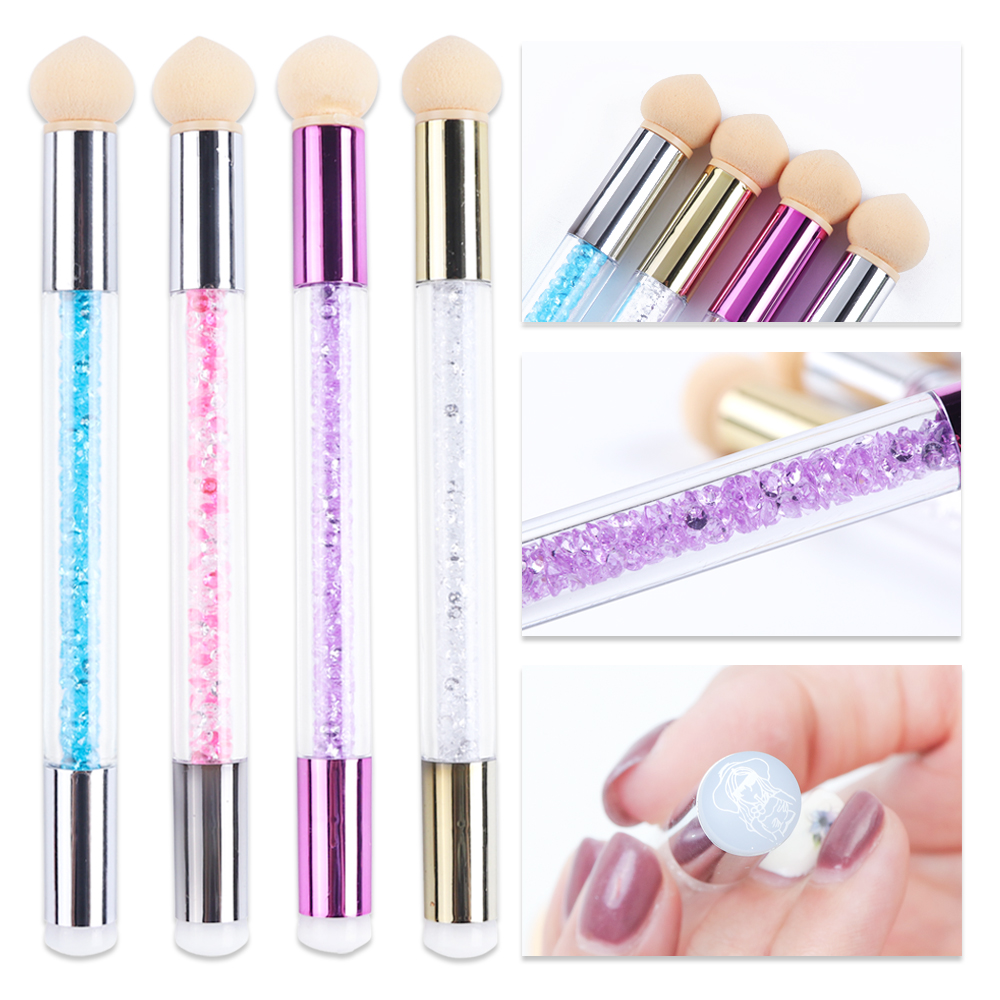1pc Nail Art Brush Sponge Silicone Acrylic Pen Gradient Blooming Replaceable Rhinestone Handle Stamping Tools For Manicure BE944