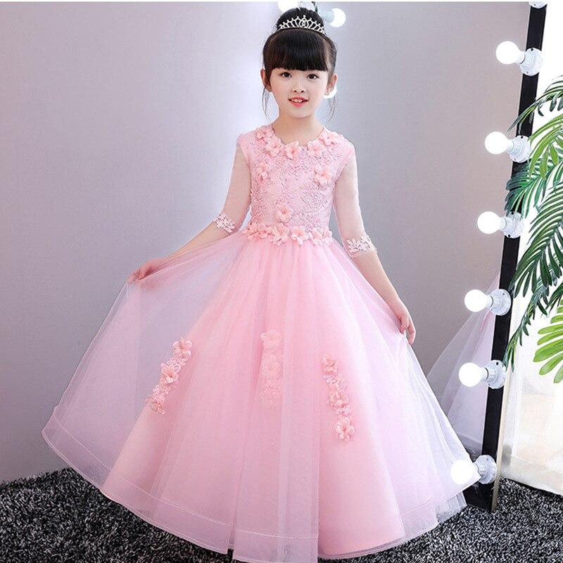 Children's dress 3D flower princess dress exquisite embroidery long kid's wedding dress spring and summer new wedding dress a84 shirred bardot embroidery dress