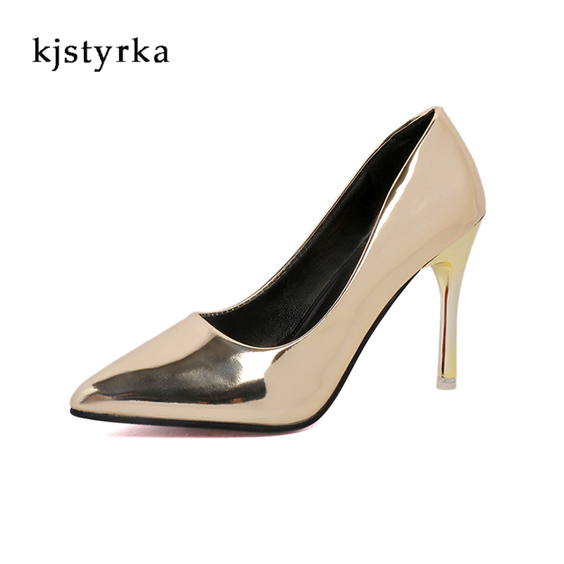 Kjstyrka 2017 sexy high heel gold party wedding shoes women pumps classic pointed toe women dress shoes chaussure