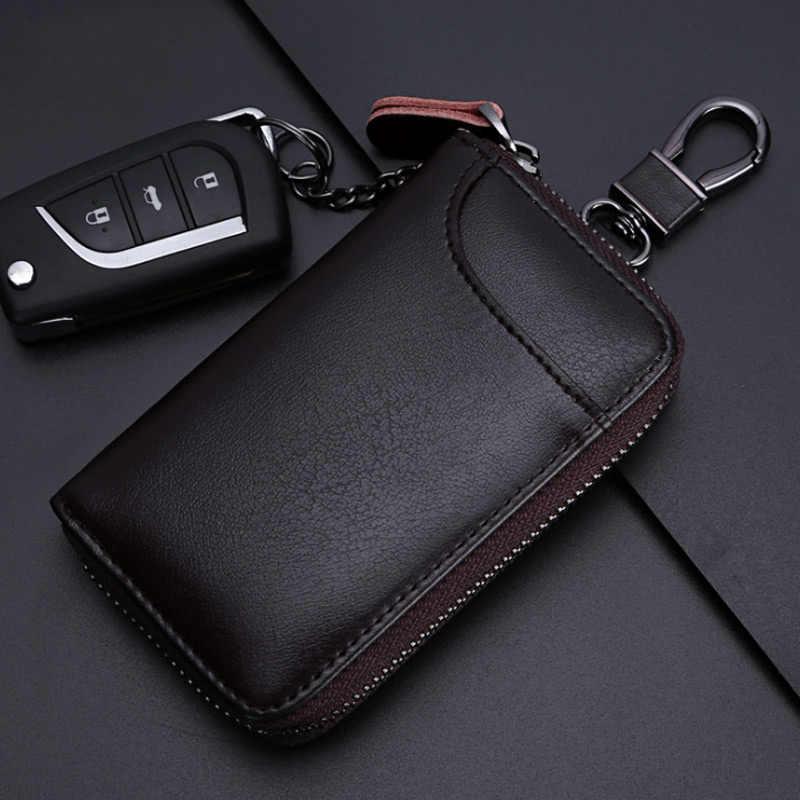 3797a6568b128 2018 New Fashion Men Leather Zip Around 6 Hook Key Case Keychain Car Key  Holder Wallet