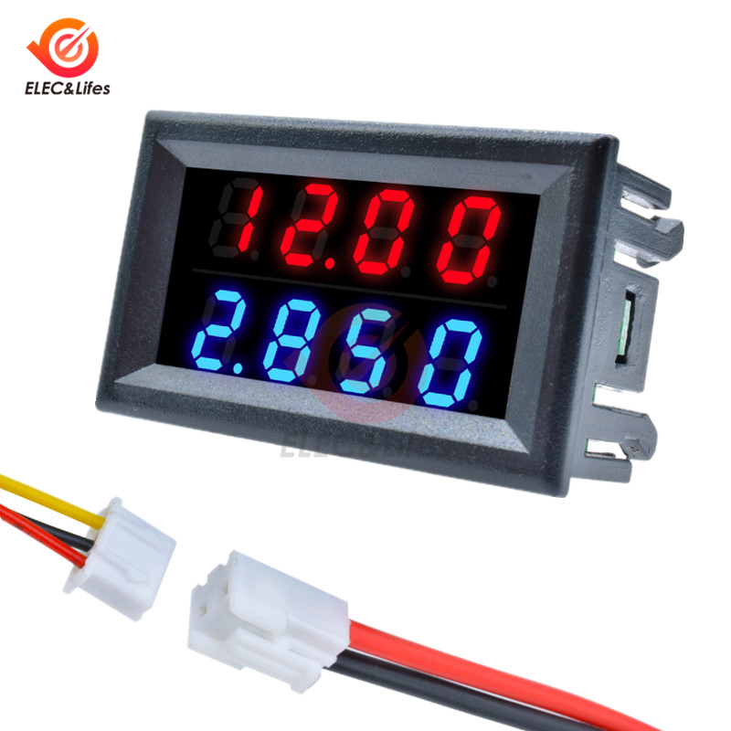 Mini Digital Voltmeter Ammeter DC 200V 100V 10A 4-Bit 5 Wires Precision Voltage Current Meter Test Power Supply Dual LED Display