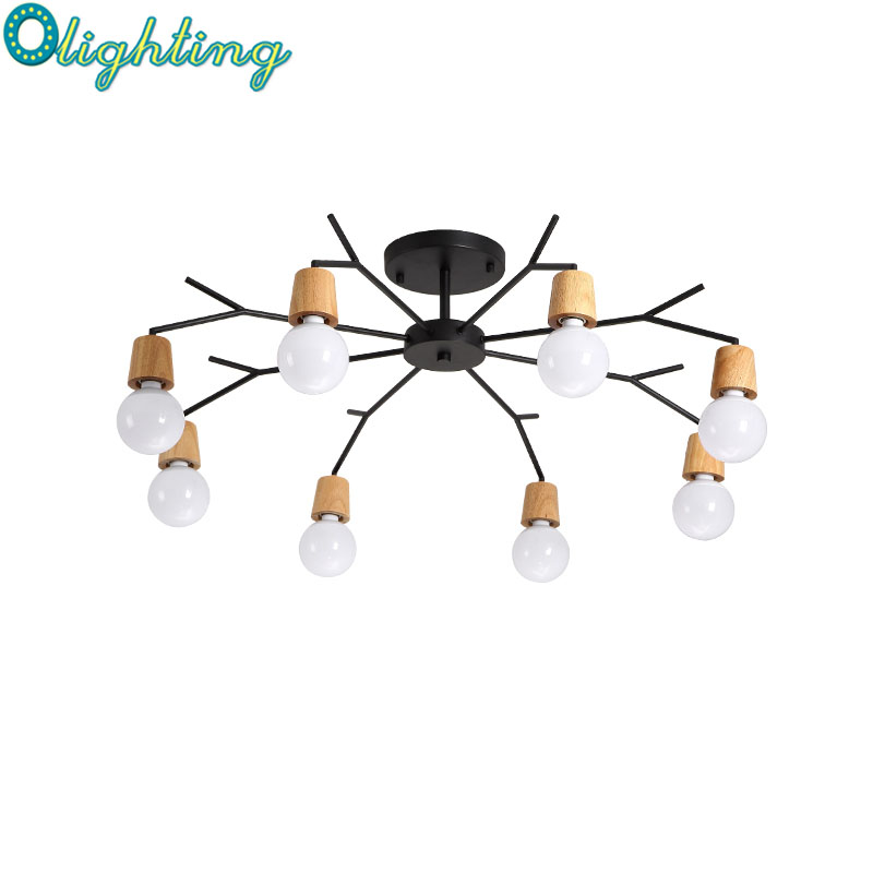 Nordic Deer  Modern LED Oak Wood Ceiling Light Living Room Bedroom For Kids Ceiling Lamp Luminaire Christmas Decoration For Home novelty magnetic floating lighting bulb night light wood color base led lamp home decoration for living room bedroom desk lamp