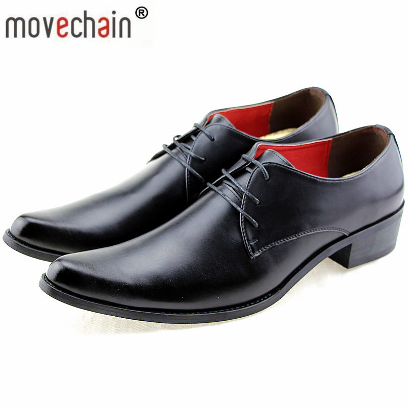 Movechain Hot Luxury Brand Designer Men s Genuine Leather Pointed Toe Dress Shoes Mens Casual Brogue