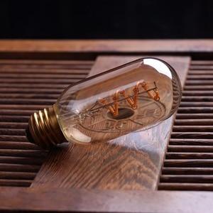 Image 2 - Светодиодный Диммируемый ретро светильник Эдисона E27 220 В 3 Вт, золотистый спиральный светодиодный светильник ST64 A19, винтажная декоративная лампа накаливания