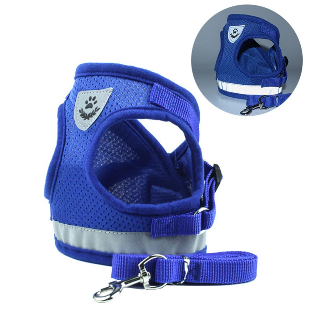 Adjustable Soft Breathable Reflective Safety Dog Harness Leash Nylon Mesh Vest Harness for Small Dogs Puppy Collar Chest Strap in Sets from Home Garden