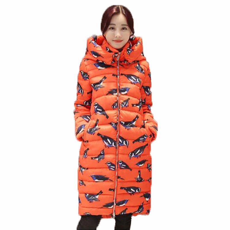 New Coat font b women b font cotton long section hooded printing Korean winter coat thicker