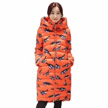 New Coat women cotton long section hooded printing Korean winter coat thicker Slim Down padded jacket warm cute student QH0301