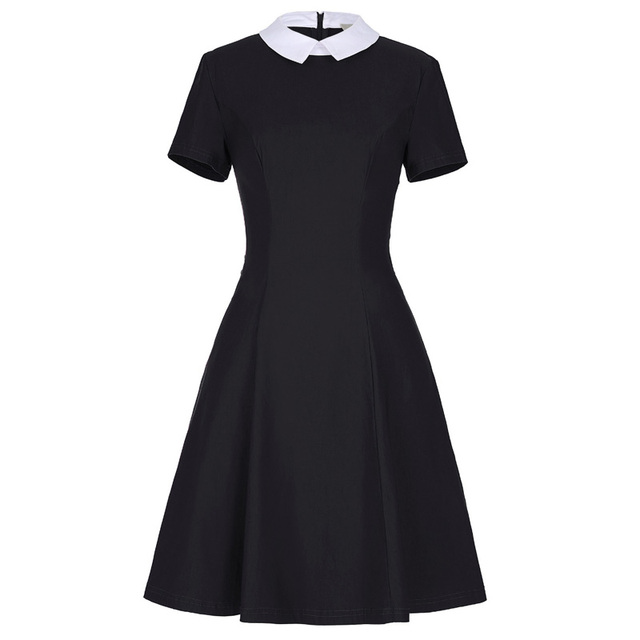 Fashion Vestidos Casual Black Dress With White Collar Pin Up