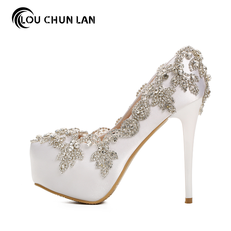 LOUCHUNLAN Women Pumps White Shoes platform Wedding Shoes Elegant silver crystal Round Toe Shoes Free Shipping Party Shoes