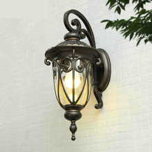 Hot Vintage European Cottage Waterproof Glass Iron Led E27 Wall Lamp For Outdoor Entrance Balcony Aisle