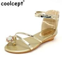 Ladies Sandals Flats Summer Shoes Women Summer Bohemia Style Rhinestone Zipper Flat Flip Flops Women Shoes