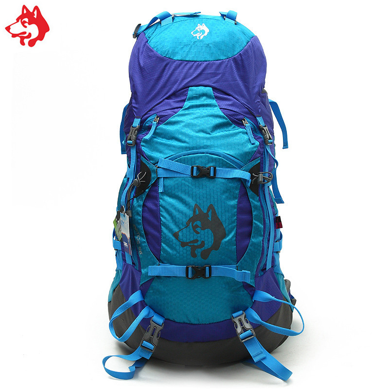Wholesale 55L Blue/yellow/Green camping Hiking Sports Travel nylon multi function outdoor sports backpack multi function green