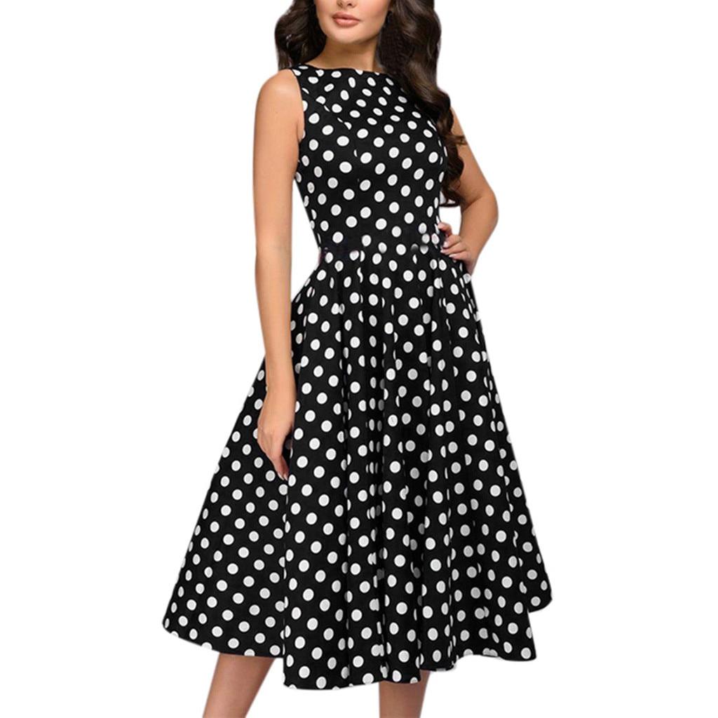 Women Elegant Polka Dot Dresses Woman Party Night Casual Sleeveless Vintage Zip Retro Midi Dress Formal Dress Women Elegant #B Dresses  - AliExpress