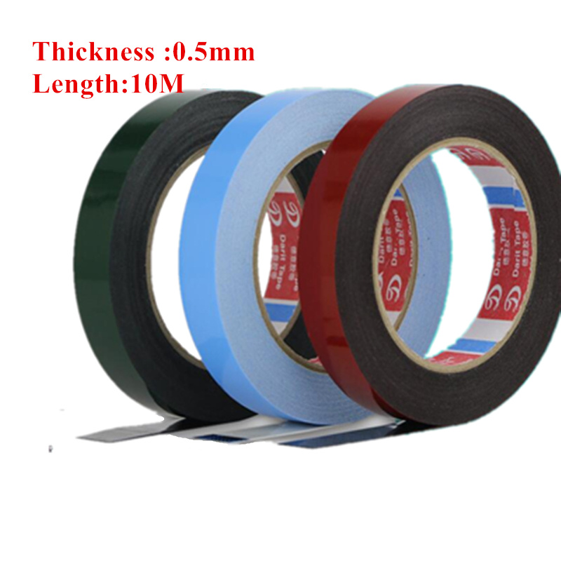 2-10mm Wide, (0.5mm Thick)10M length Double Sided Sticky Black Foam Sponge Tape for Phone Samsung HTC Screen Dust Proof Sealing 10mm 20m 0 5mm double sided black sticky sponge foam tape gasket for android machine mainboard tablet panel seal dust proof