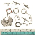 DIY Mixed Clasps For Bracelets Jewelry Material  Vintage Silver Necklaces Toggles Hooks Fashion Accessory For Crafts 12Pcs