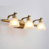 Ретро простые европейские классические гладить Стекло Led E14 * 2/3/4 головки туалетное зеркало со светодиодной подсветкой для Ванная комната ка