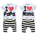 Pijamas de los niños impresión de la letra amo al papá amo la mamá manga corta de la ropa para niños niñas de ropa verano determinado