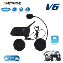 VNETPHON 1200M BT Bluetooth Motorcycle Helmet Intercom 6 Riders Full Duplex Wireless Bluetooth Communication Interphone Headset