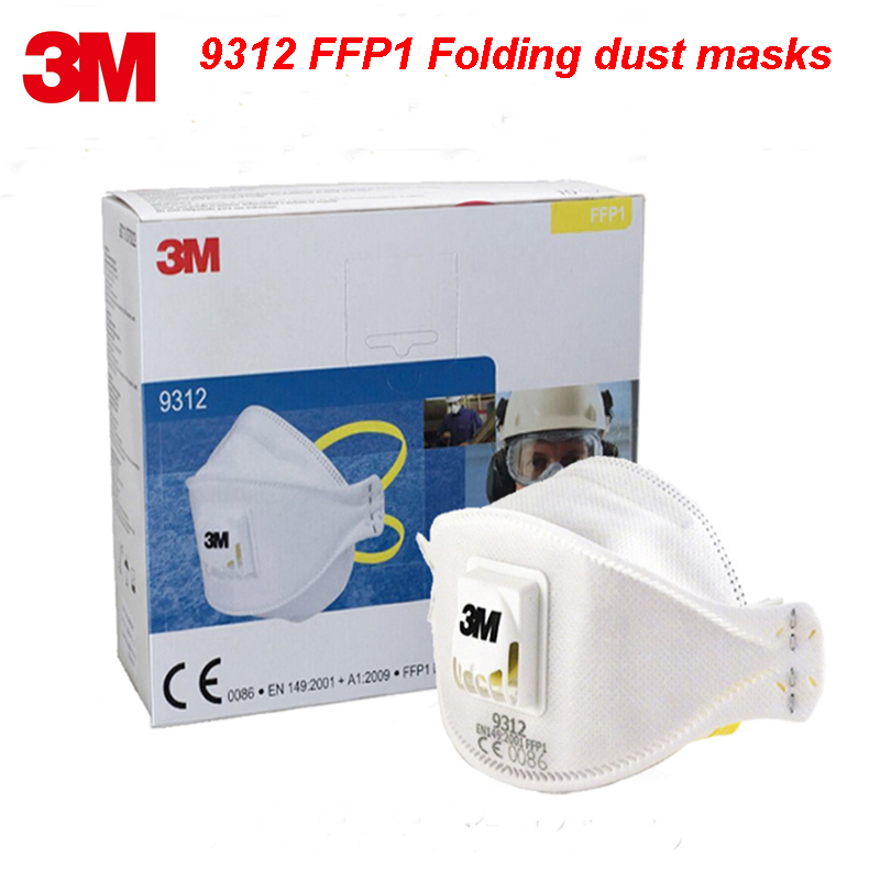 3M 9312 FFP1 NR D particle respirator mask high quality Folding dust mask PM2.5 formaldehyde dust Anti-virus filter mask 3m 9332 ffp3 respirator dust mask folding cold flow valve respirator mask for particles dust flu virus n99 filter mask