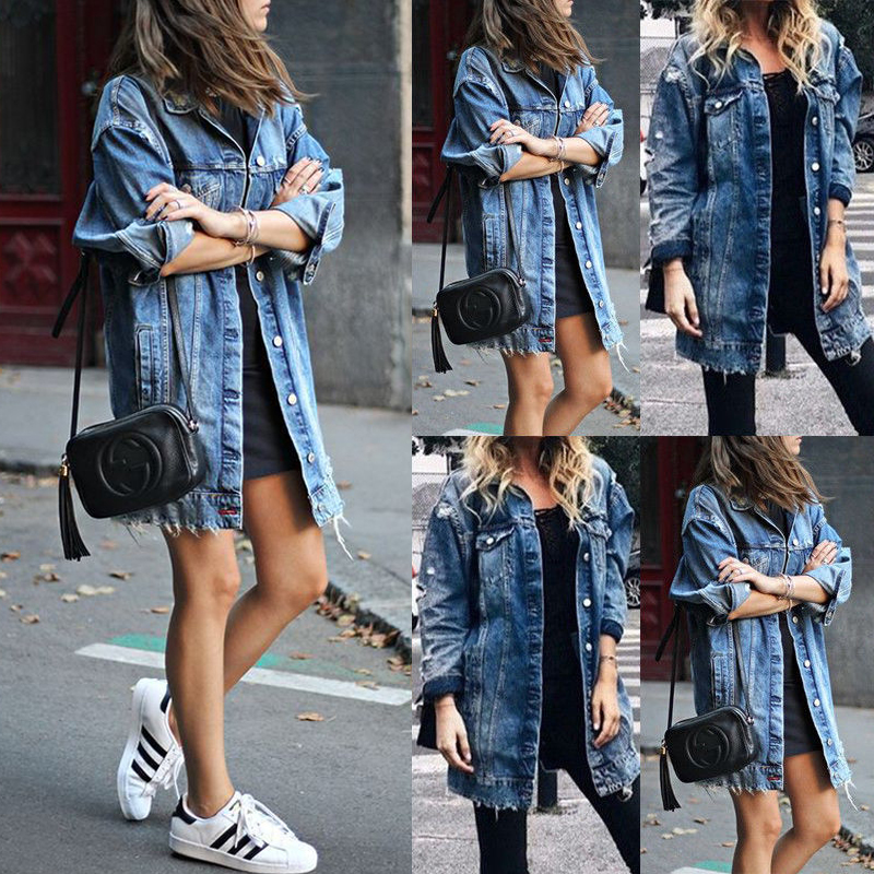 HTB1DDMhLSzqK1RjSZFpq6ykSXXao Women's Basic Coat Holes Baggy Denim Jacket Long Sleeve Loose Street Style Outwear Winter NEW