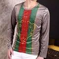 Mens T Shirts Fashion 2017 Spring Velvet Long-sleeve T-shirts Luxury Stripe Block Casual Silk T-shirts Slim Fit High Quality