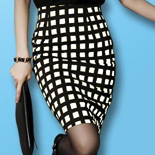 Black And White Plaid Pencil Skirt - Dress Ala