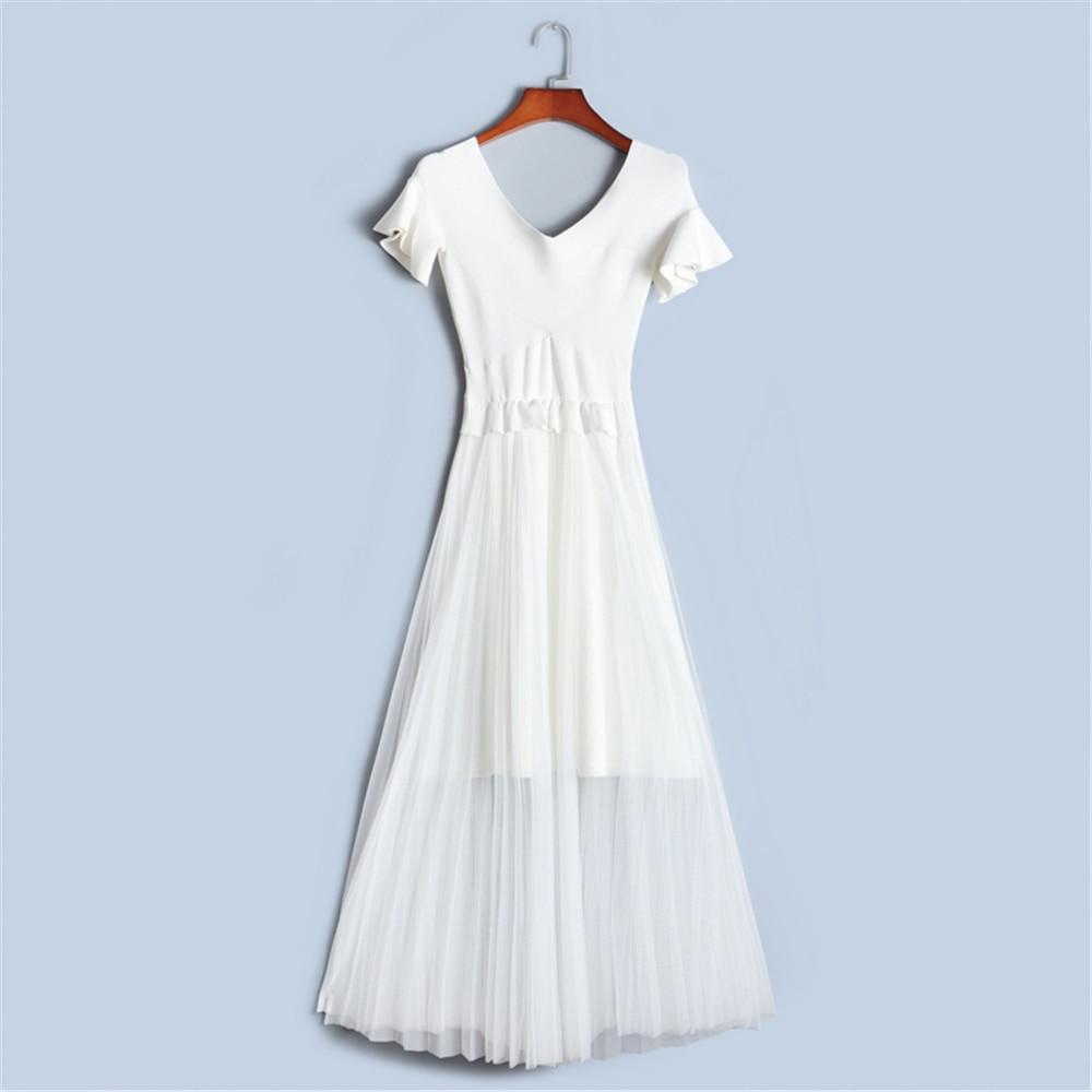 Runway Design Dress Women High-end 2018 NEW Mesh Patchwork Pleated Dress Summer Short Sleeve Knit Dress Lolita Vestido Luxury maison jules new junior s medium m pink dotted pleated contrast knit dress $79
