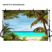 Photography Backdrop Summer Blue Sky Sea Sunny Beach Coconut Tree Background Photophone Photocall Photo Studio Prop F3262