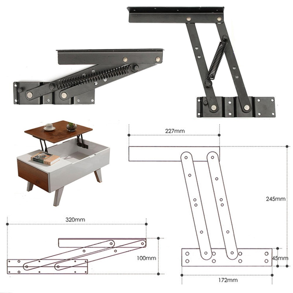 1 Paar Lift Up Top Kaffee Tisch Heben Rahmen Mechanismus Frühling Scharnier Hardware