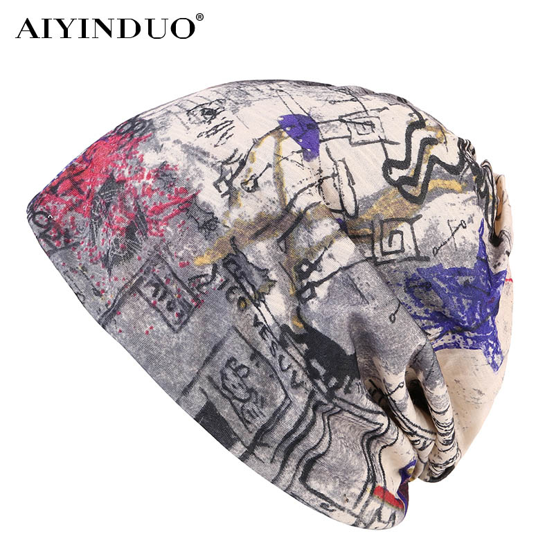 AIYINDUO new arrive beanies for women funny design hit color skullies cap for girls high quality brand hat fashion street hat